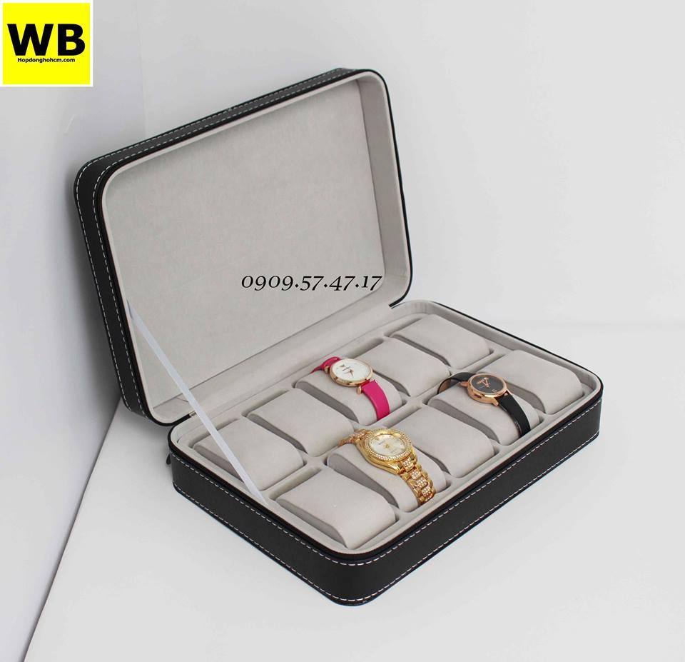 hộp đựng đồng hồ bằng simili bọc nhung
