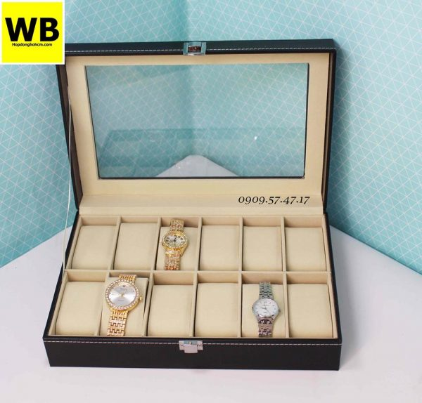 Hộp để đồng hồ da simili