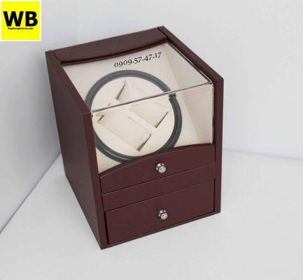 hộp xoay đồng hồ giá rẻ bằng da màu nâu