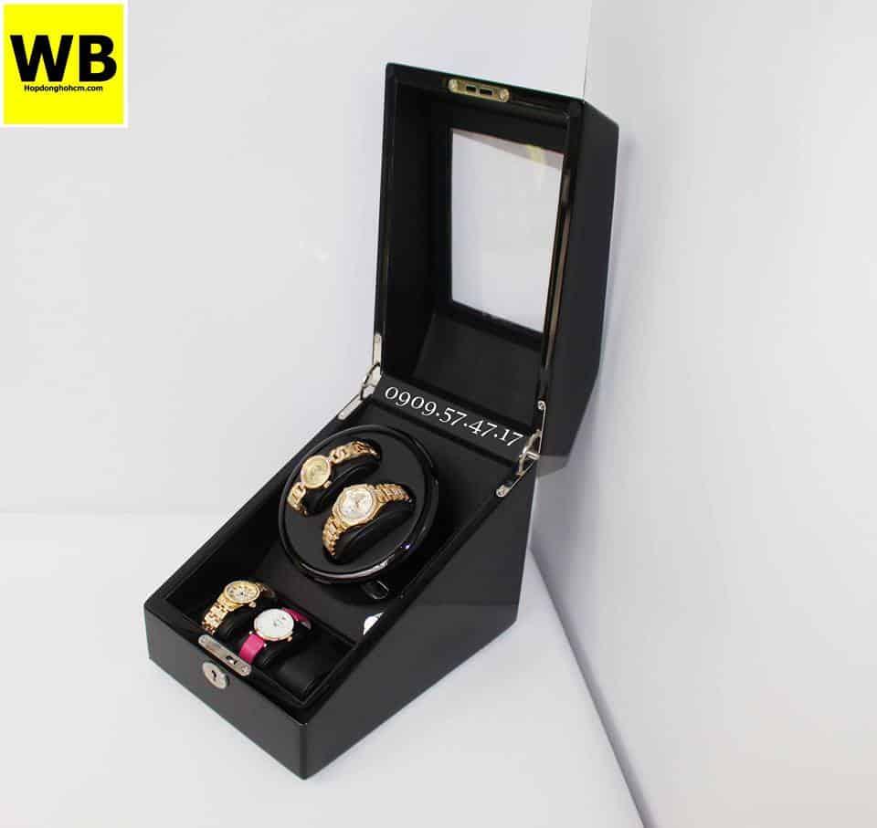 Hộp đựng đồng hồ cơ 2 xoay 3 trưng bày gỗ đen lót đen 1