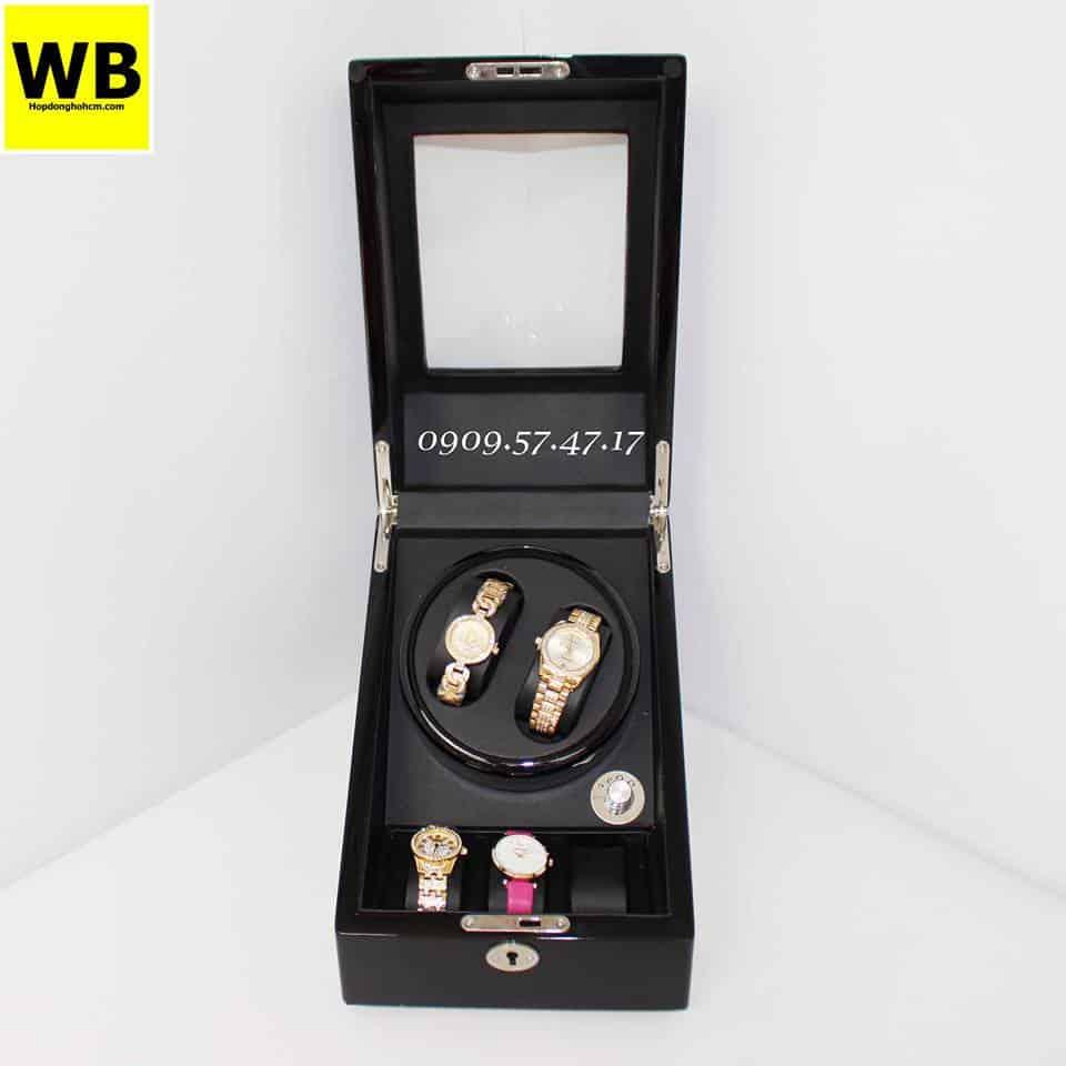 Hộp đựng đồng hồ cơ 2 xoay 3 trưng bày gỗ đen lót đen 5