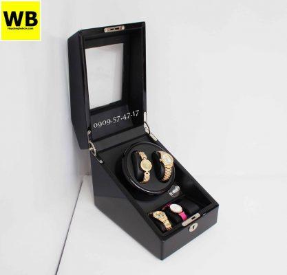 hộp quay đồng hồ gỗ đen bóng