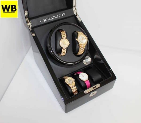 Hộp đựng đồng hồ cơ 2 xoay 3 trưng bày gỗ đen lót đen 2