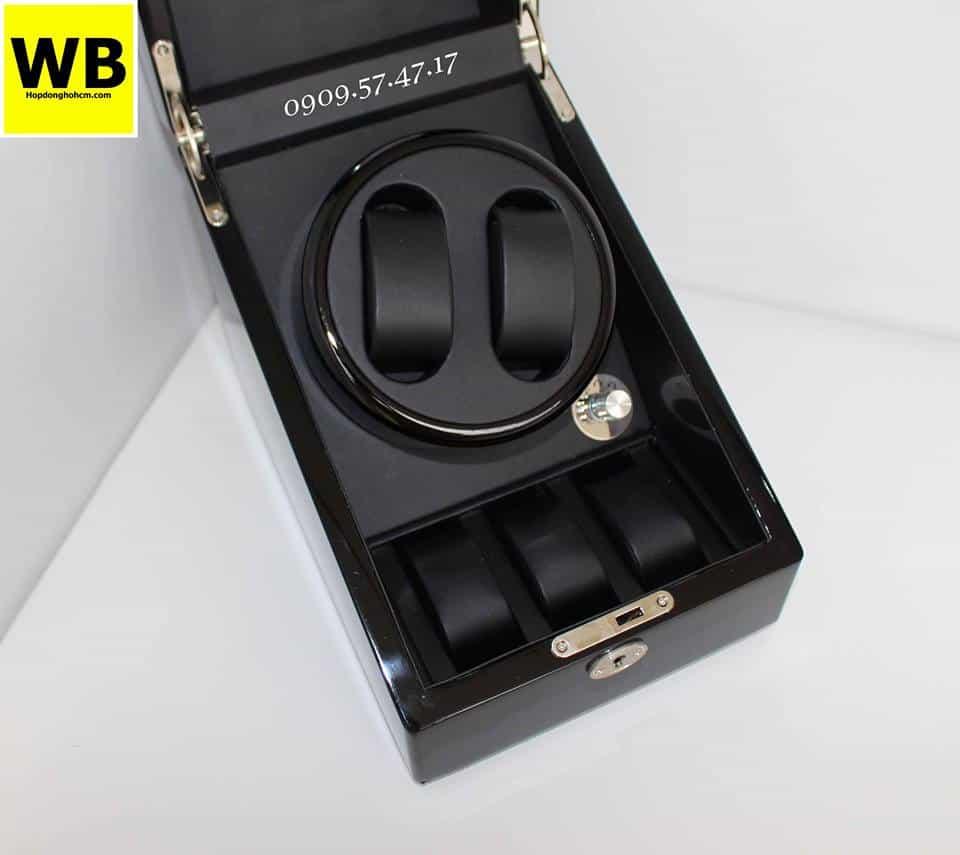 Hộp đựng đồng hồ cơ 2 xoay 3 trưng bày gỗ đen lót đen 4