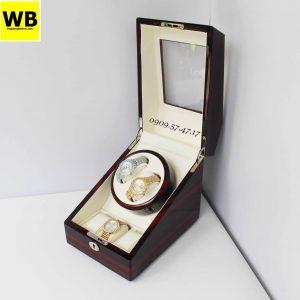 Hộp đựng đồng hồ cơ 2 xoay 3 trưng bày gỗ nâu lót kem 1
