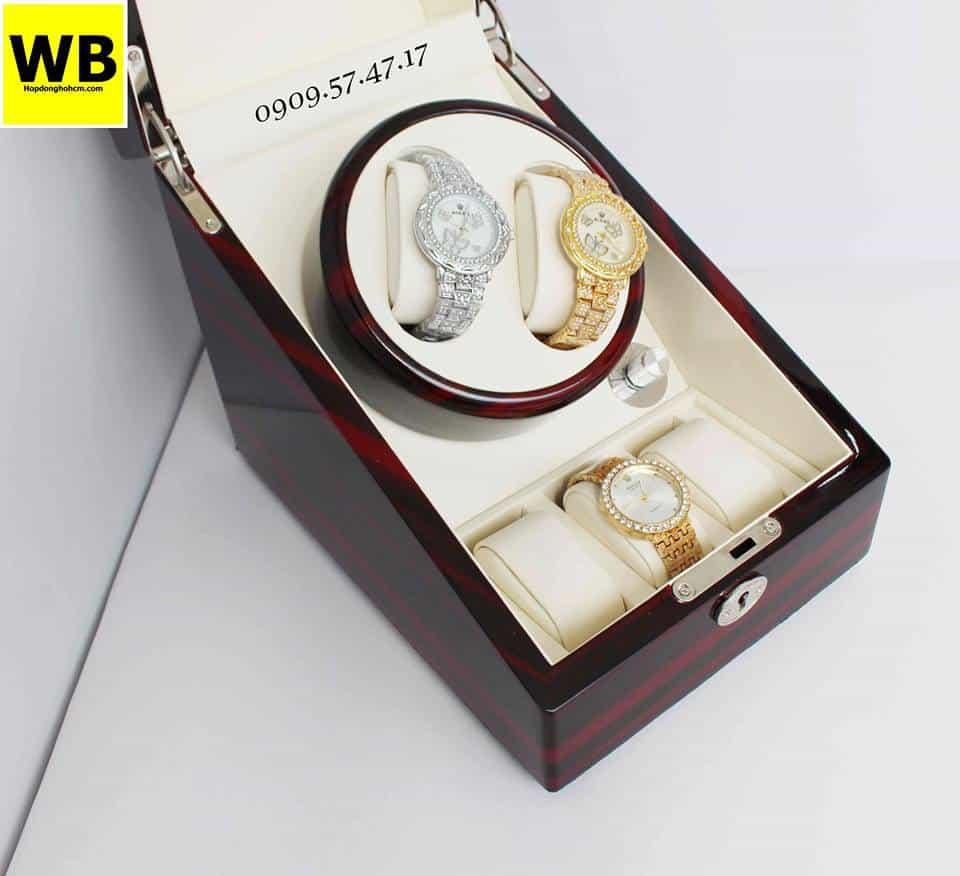 Hộp đựng đồng hồ cơ 2 xoay 3 trưng bày gỗ nâu lót kem 2
