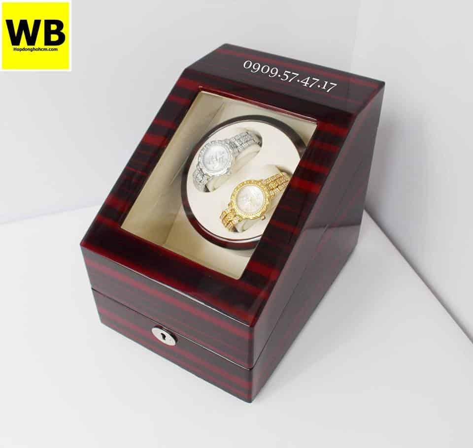 Hộp đựng đồng hồ cơ 2 xoay 3 trưng bày gỗ nâu lót kem 3