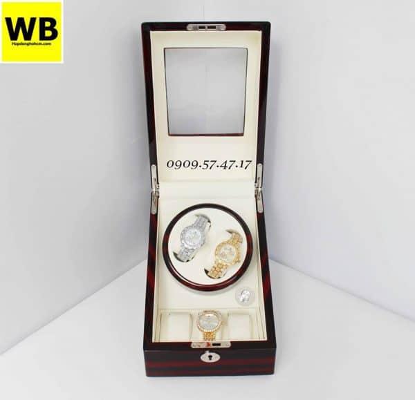 Hộp đựng đồng hồ cơ 2 xoay 3 trưng bày gỗ nâu lót kem 4