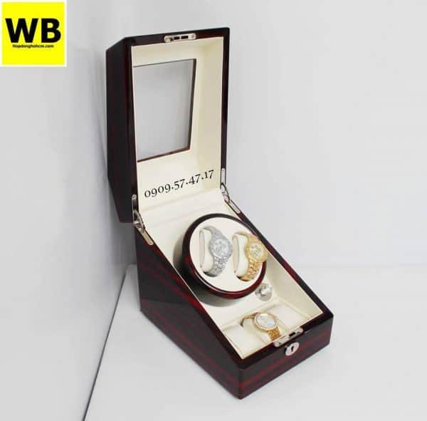Hộp đựng đồng hồ cơ 2 xoay 3 trưng bày gỗ nâu lót kem 5
