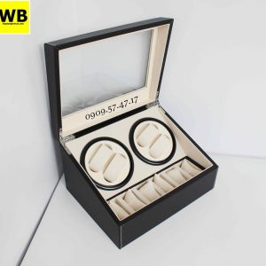hộp đựng đồng hồ cơ da 4 xoay 6 trưng bày đen lót kem 4