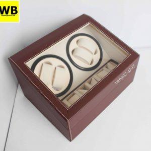 Hộp đựng đồng hồ cơ da 4 xoay 6 trưng bày nâu lót kem 1