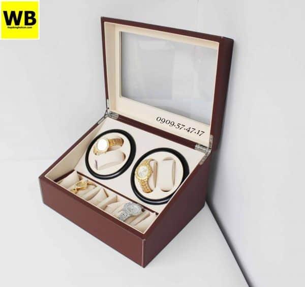 Hộp đựng đồng hồ cơ da 4 xoay 6 trưng bày nâu lót kem