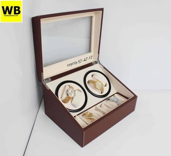 Hộp đựng đồng hồ cơ da 4 xoay 6 trưng bày nâu lót kem 4