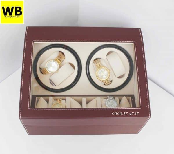 Hộp đựng đồng hồ cơ da 4 xoay 6 trưng bày nâu lót kem 3