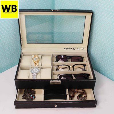 Hộp đựng đồng hồ mắt kính và trang sức 2 tầng 1