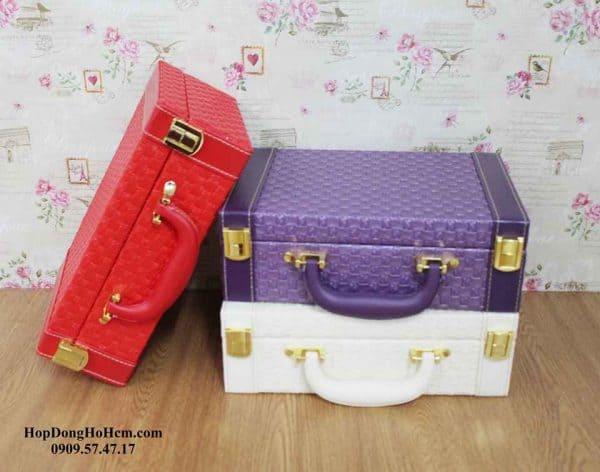 hộp đựng trang sức da 2 tầng vali 3