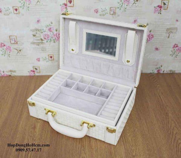 hộp đựng trang sức da 2 tầng vali 4