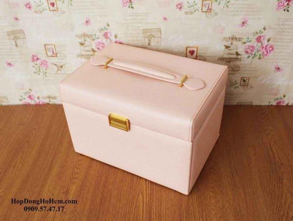 Hộp đựng trang sức da cao cấp màu hồng 3