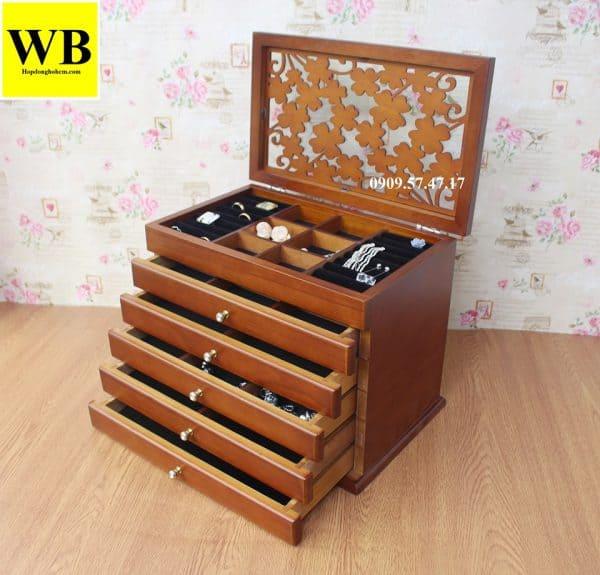 Hộp đựng trang sức vintage 6 tầng gỗ