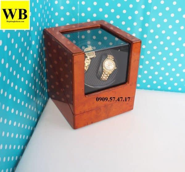 Hộp xoay đồng hồ cơ 2 chiếc gỗ cam lót đen 2