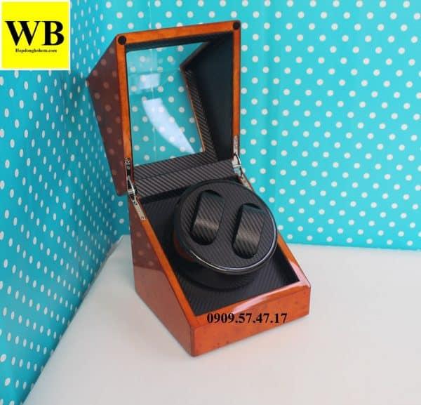 Hộp xoay đồng hồ cơ 2 chiếc gỗ cam lót đen 3