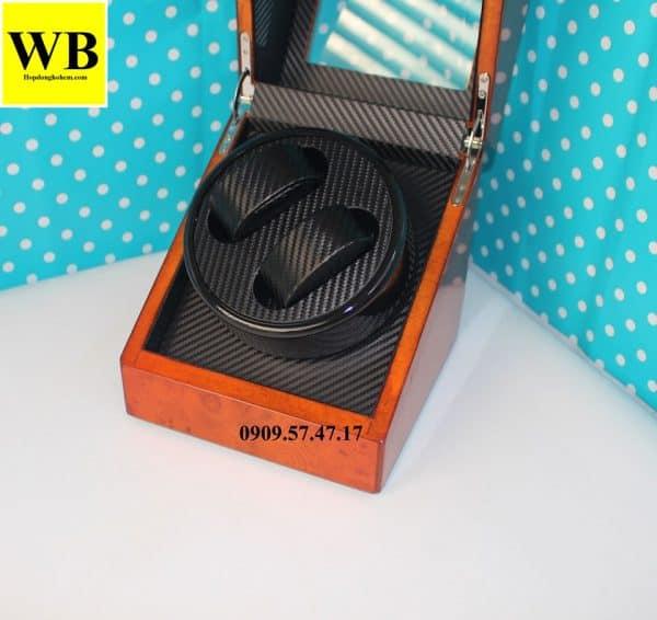 Hộp xoay đồng hồ cơ 2 chiếc gỗ cam lót đen 1