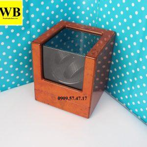 Hộp xoay đồng hồ cơ 2 chiếc gỗ cam lót đen
