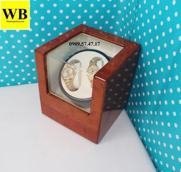 Hộp xoay đồng hồ cơ 2 chiếc gỗ cam lót kem 2