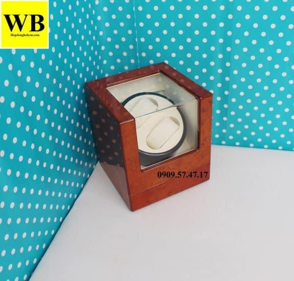 Hộp xoay đồng hồ cơ 2 chiếc gỗ cam lót kem 4