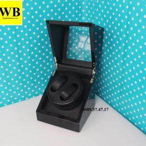 Hộp xoay đồng hồ cơ 2 chiếc gỗ đen lót đen 4