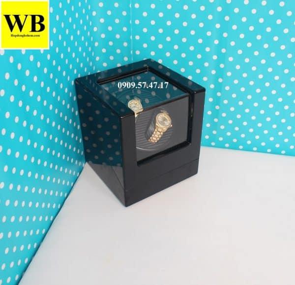 Hộp xoay đồng hồ cơ 2 chiếc gỗ đen lót đen