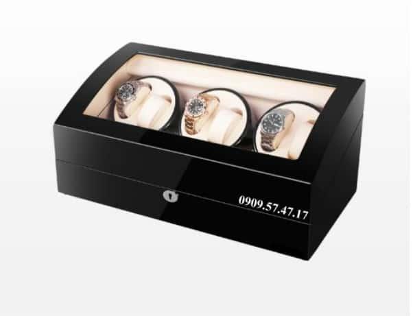 Hộp xoay đồng hồ cơ 4 xoay 7 trưng bày da đen lót đen 2