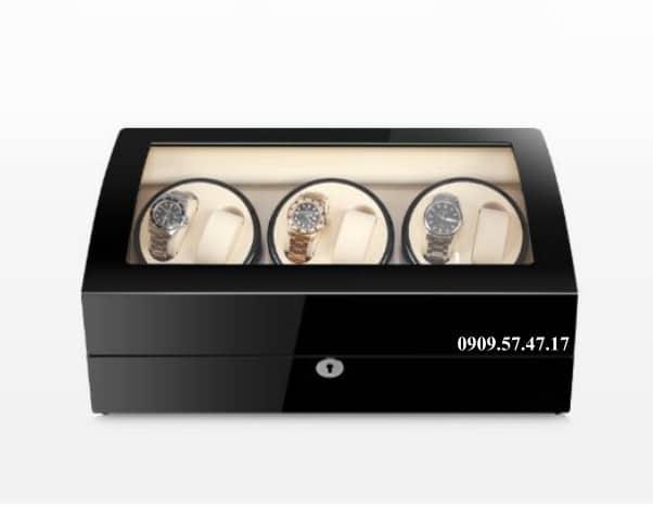 Hộp xoay đồng hồ cơ 4 xoay 7 trưng bày da đen lót đen 1