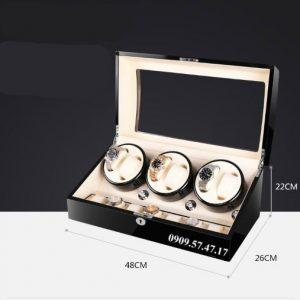 Hộp xoay đồng hồ cơ 6 xoay 7 trưng bày da đen lót đen 3