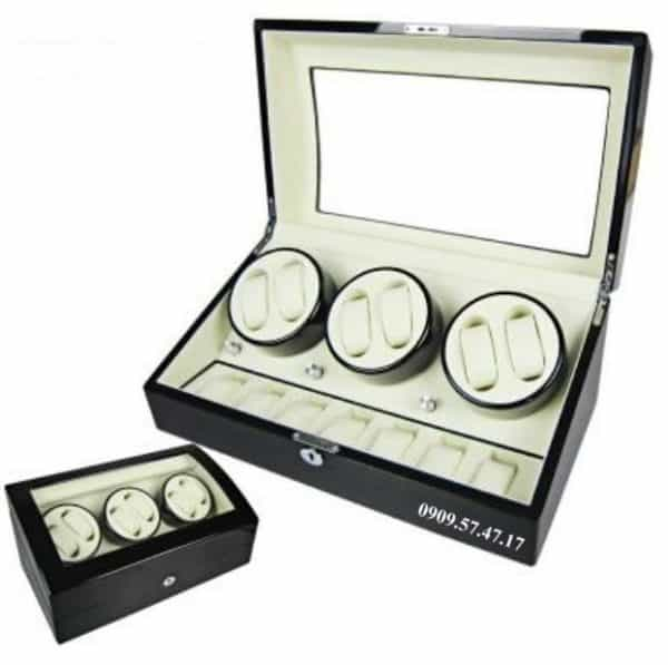 Hộp xoay đồng hồ cơ 6 xoay 7 trưng bày da đen lót đen