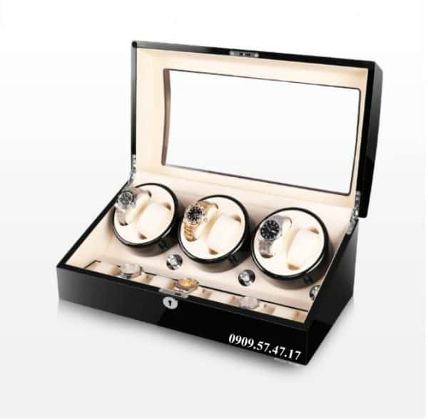 Hộp xoay đồng hồ cơ 6 xoay 7 trưng bày da đen lót đen 4