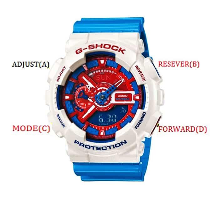 các nút bấm chỉnh giờ trong đồng hồ g shock