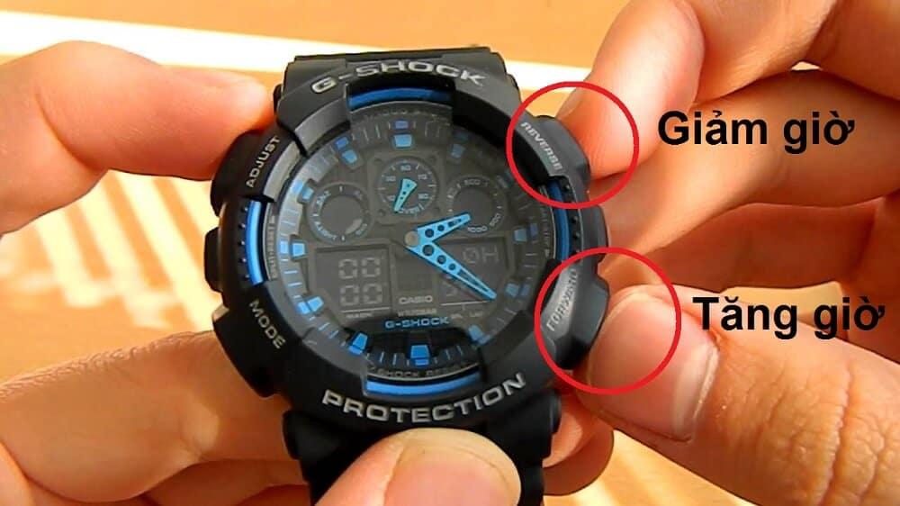 Chỉnh giờ đồng hồ g shock với nút B hoặc D