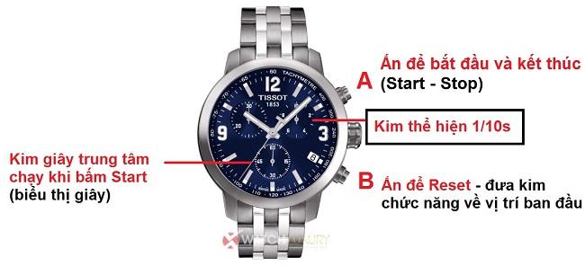 hướng dẫn sử dụng chức năng chronograph trên đồng hồ tissot