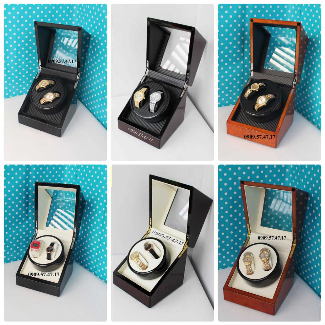 dòng hộp xoay đồng hồ 2 chiếc bằng gỗ