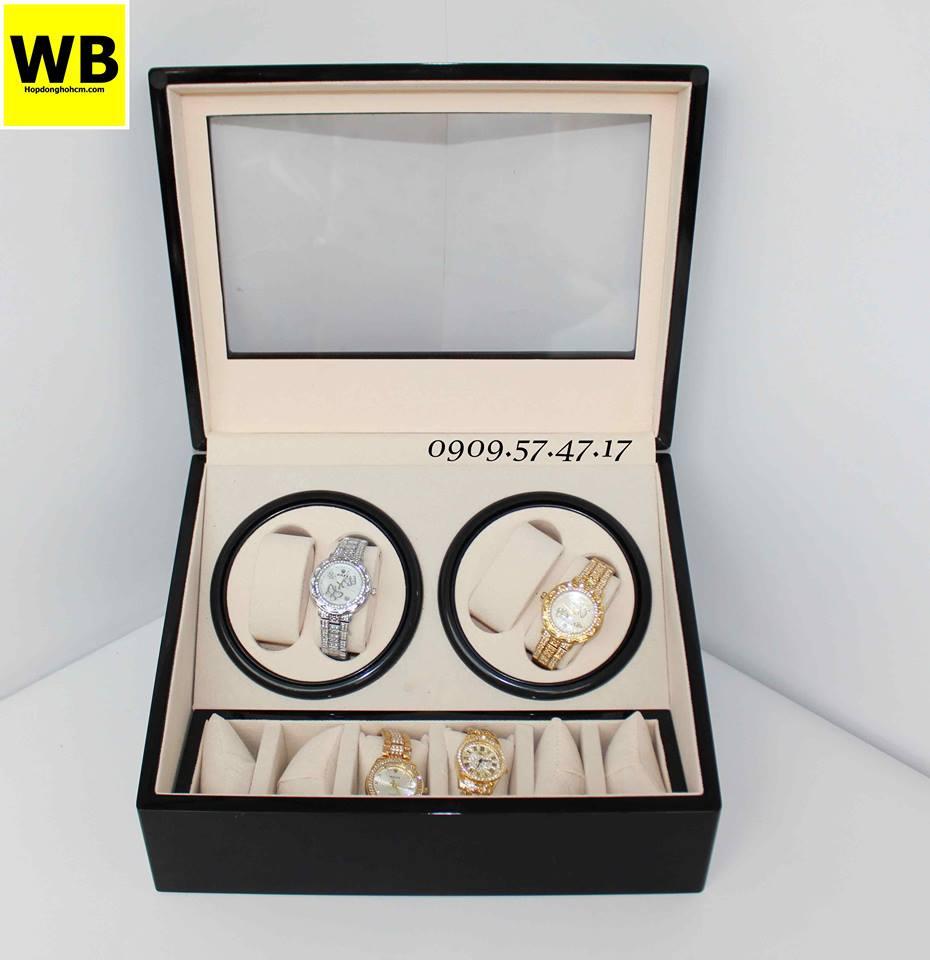 hộp xoay đồng hồ automatic bằng da simili