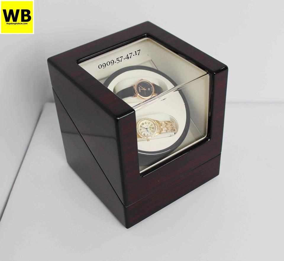hộp xoay đồng hồ cơ bằng gỗ cao cấp