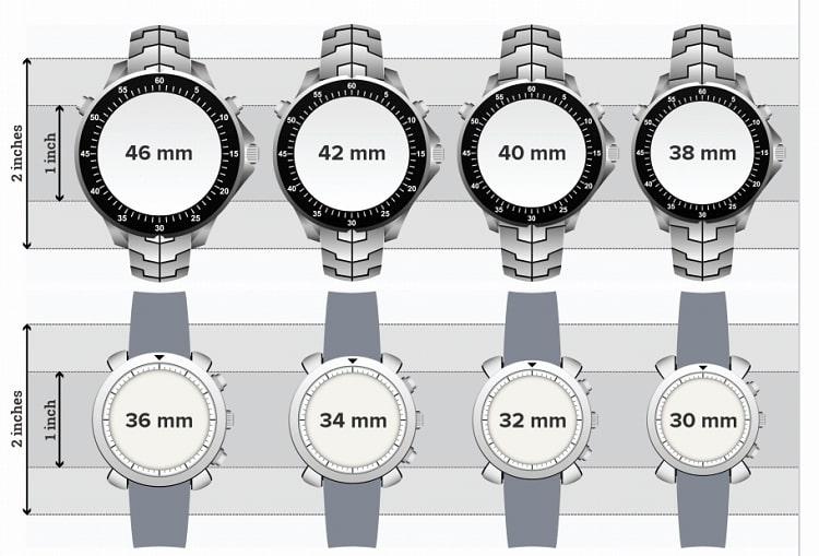 lựa chọn size mặt đồng hồ