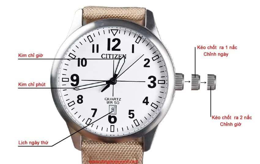 hướng dẫn chỉnh giờ cho đồng hồ cơ 3 kim kèm lịch
