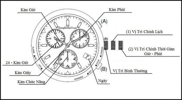chỉnh giờ cho đồng hồ 6 kim