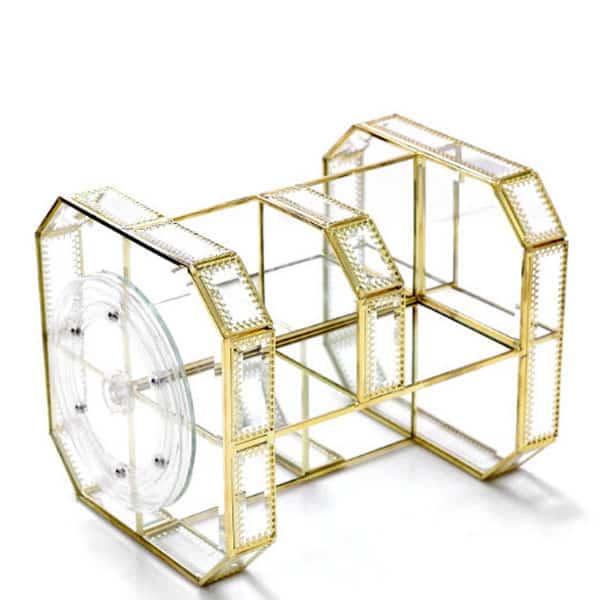 khay đựng mỹ phẩm xoay 360 độ golden